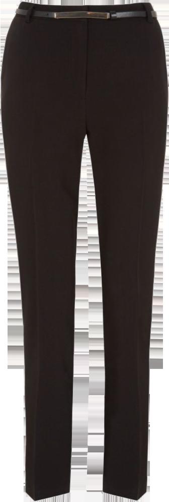 Black Belted Slim Leg Trousers