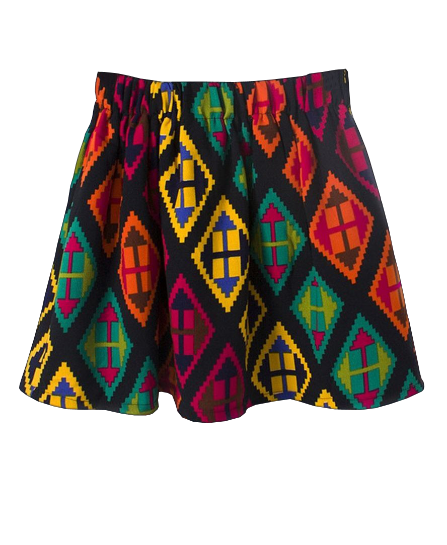 Diamond Pattern Print Elastic Waist Skirt