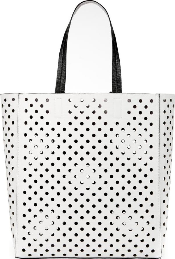 White Laser Cut Out Shopper Bag