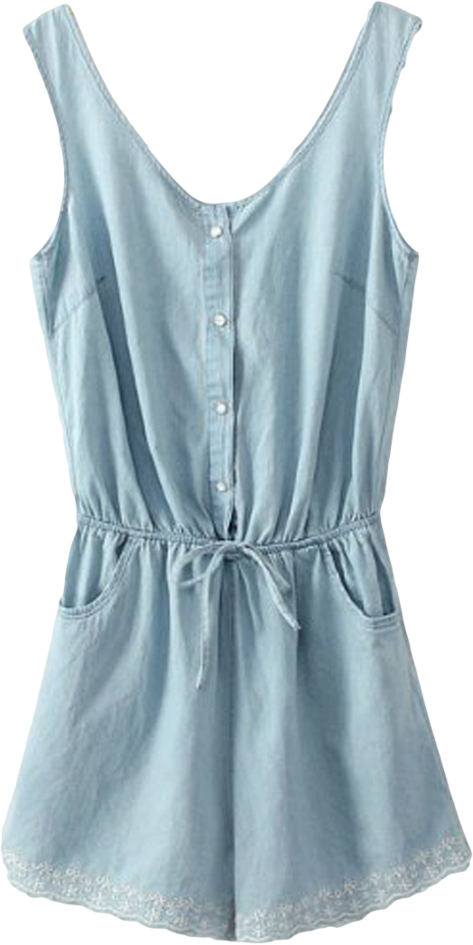 Blue Embroidery Drawstring Waist Romper Playsuit