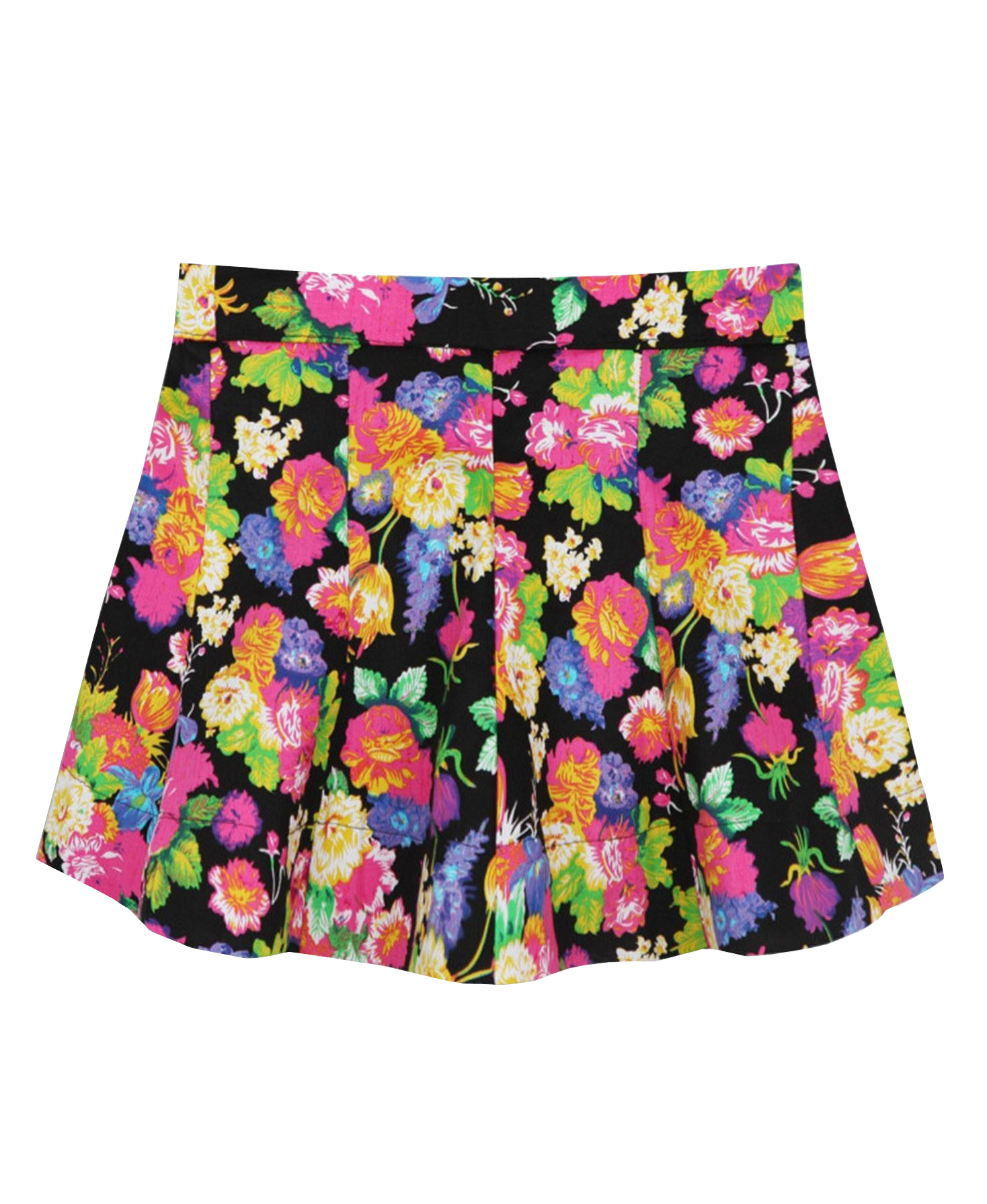 Vintage Style Painting Flower Print Elastic Waist Skirt