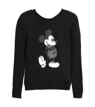 Mickey Print Long Sleeves Sweatshirt + Fishtail Hem Skirt Two Piece Suit