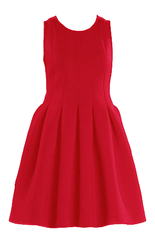 Red Pleated Hem Space Cotton Dress