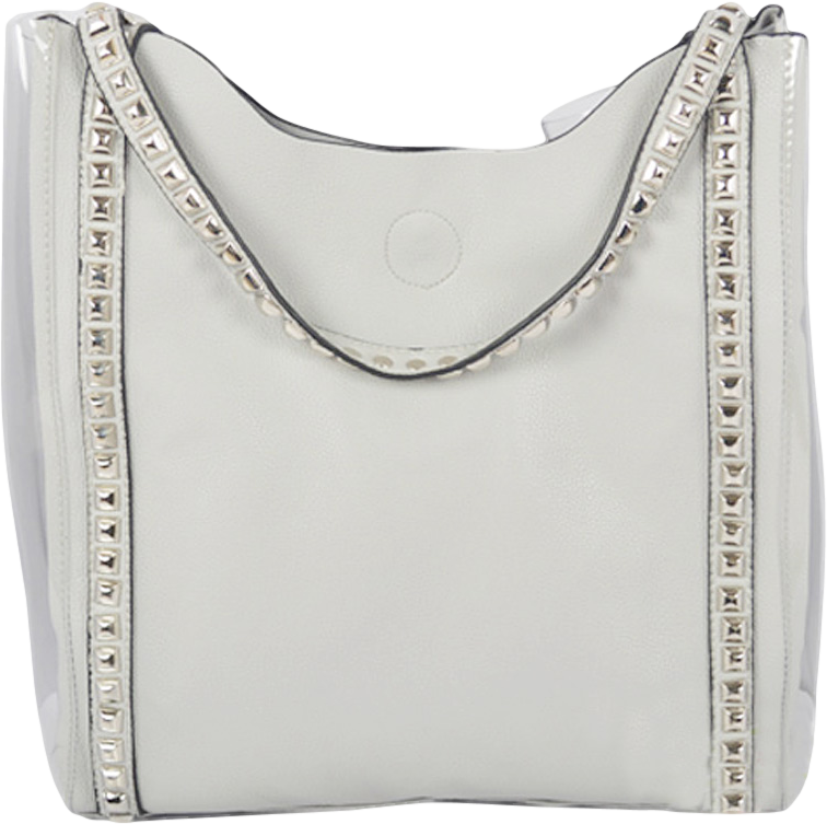 White Studded Shopping Bag With Plastic Details