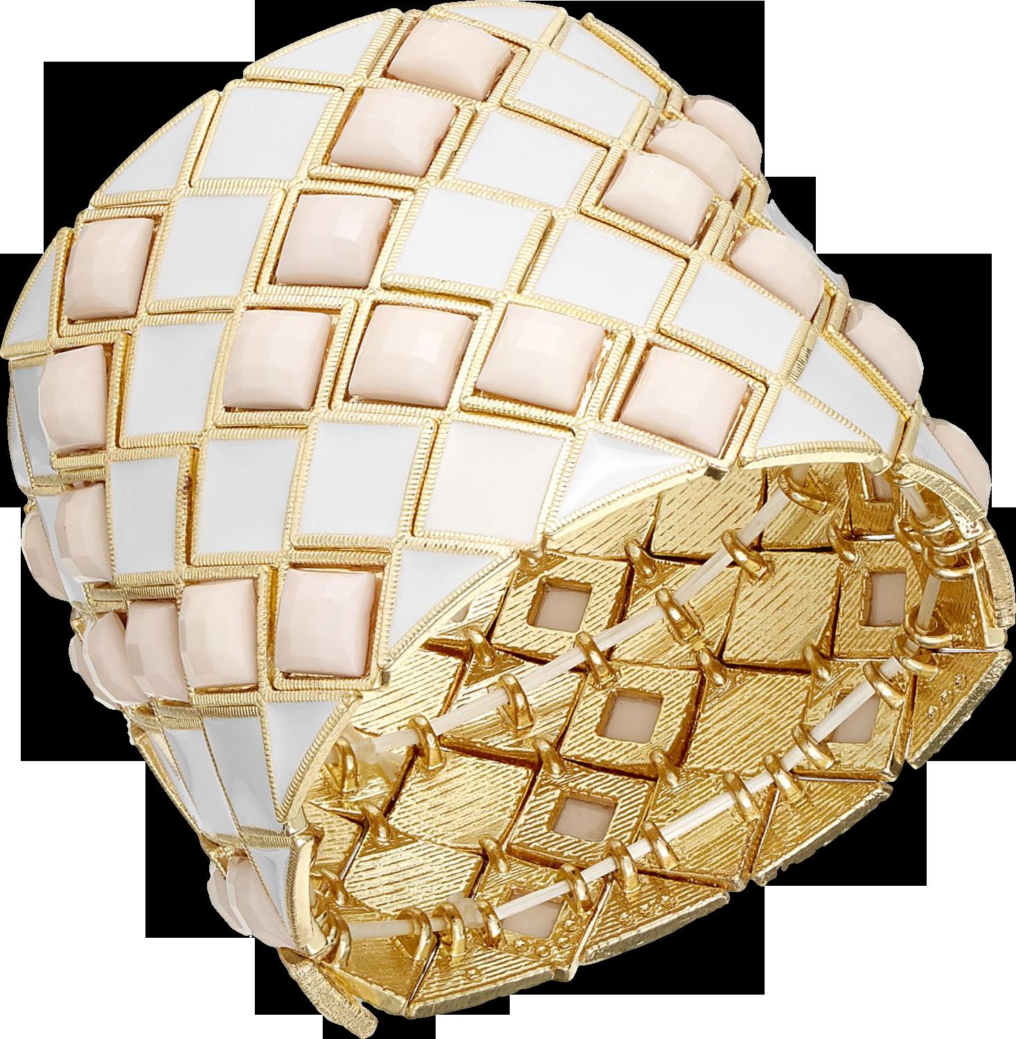Bar III Gold-Tone Taupe Stone Diamond Stretch Bracelet