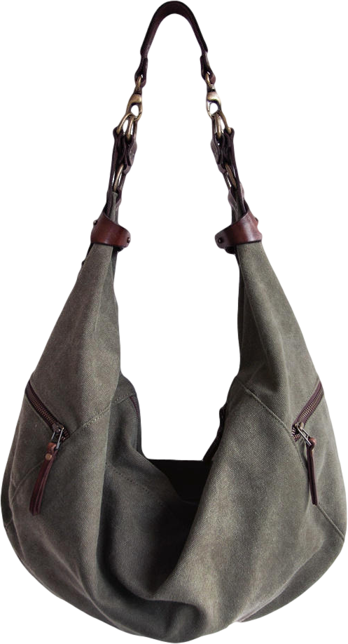 Canvas leather bag Esmé khaki