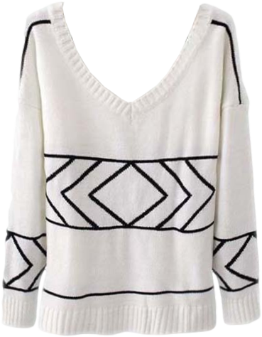 Simple Knit Sweater With Line Print