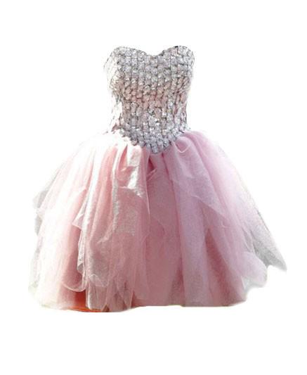 Diamond Sweetheart Neckline Tulle Prom Dress
