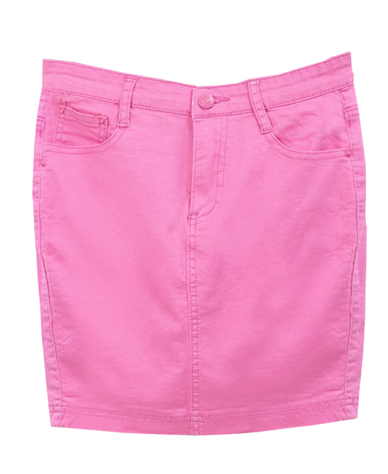 Candy Color Slim Fit Denim Skirt