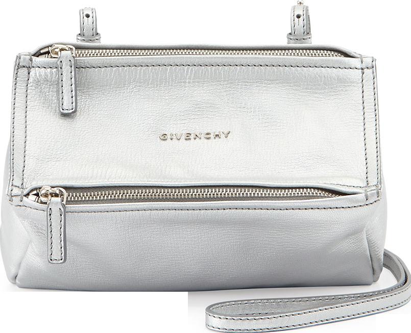 Mini Pandora Metallic Crossbody Bag, Silver