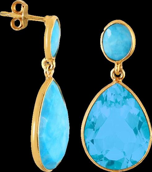 Turquoise Tear Drop Earrings in 18K Gold Plated Sterling Silver