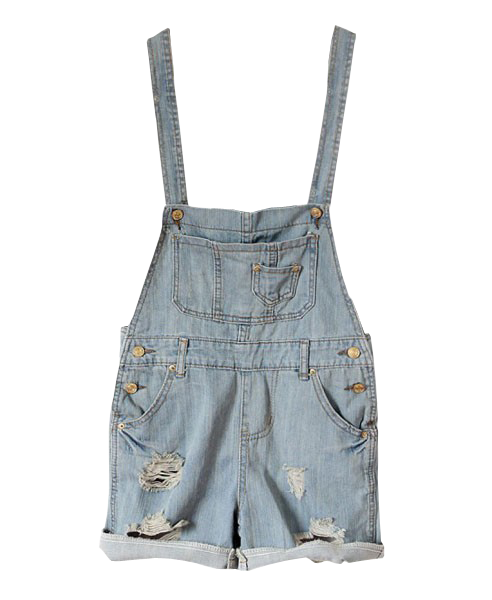Washed Denim Holes Sto Suspender Trousers