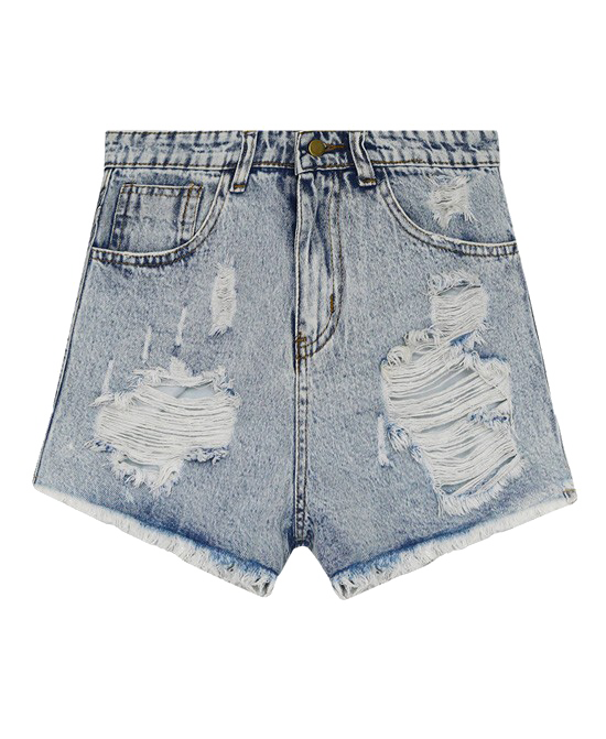 Retro Style High Waist Tassels Simple Ripped Denim Shorts