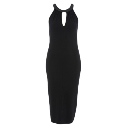 PU CUTOUT NECK MIDI DRESS
