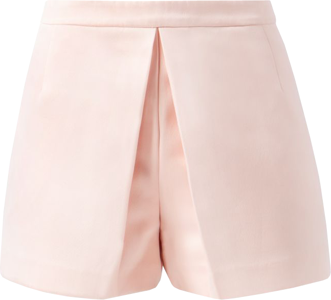 Shell Pink Sateen Pleat Front Skort
