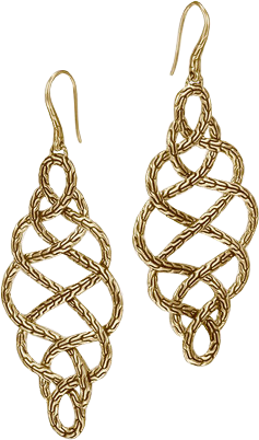 Large Braided Drop Earrings on French wire. All in 18K Gold.