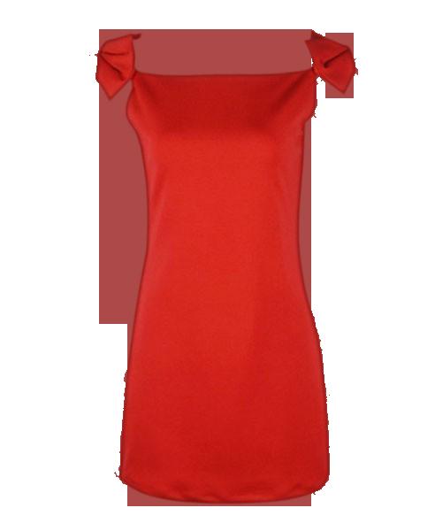 Shoulder Embellished Red Dress