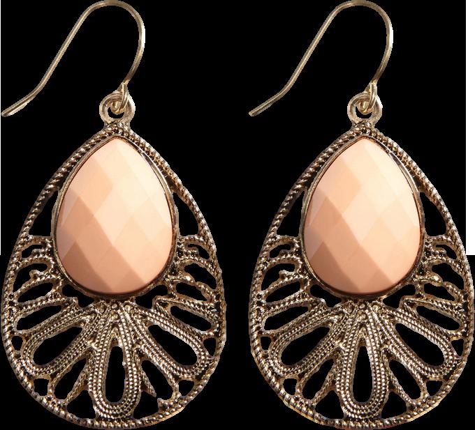 Metal Cutout Jewel Earrings