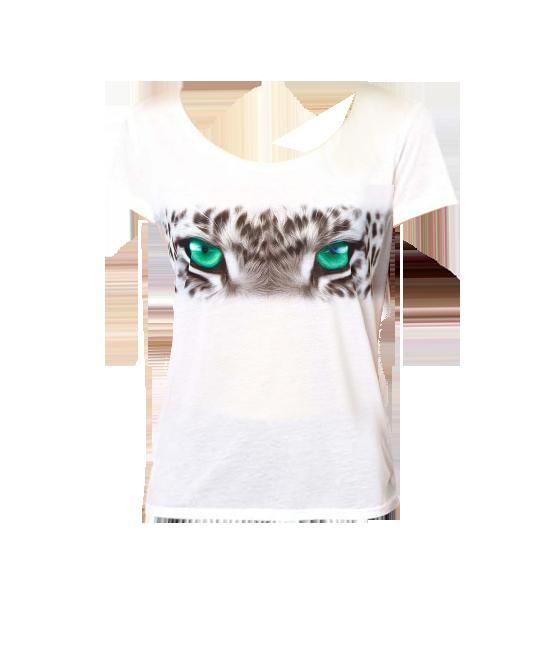 Tiger Eyes Print Short Sleeves White T-shirt