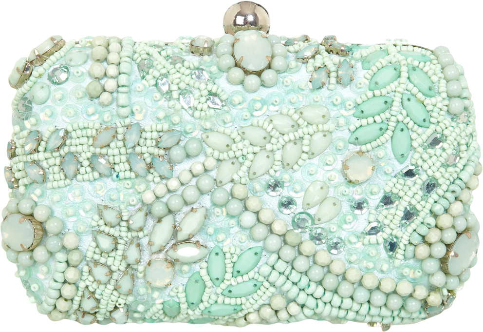 Mint Embellished Clutch