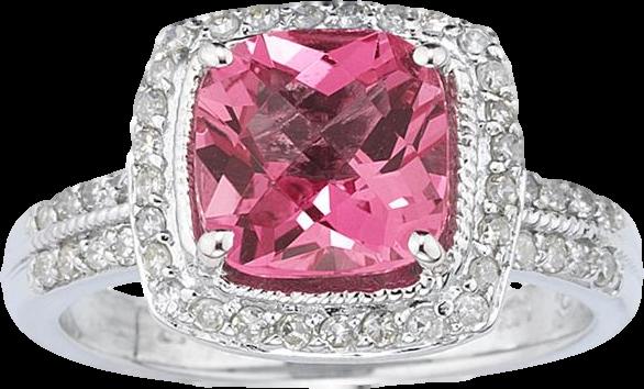 2.50 Carat Cushion Cut Pink Topaz & Diamond Ring in 14K White Gold