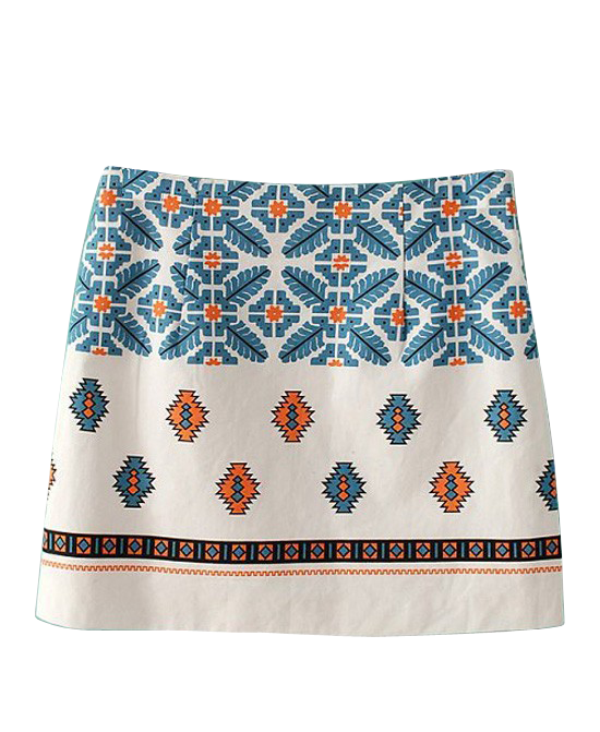Folk Style Printed Skirt