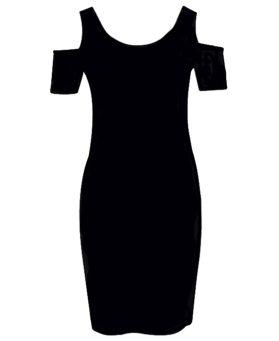 Off-the-shoulder Round Neck Black Bodycon Dress