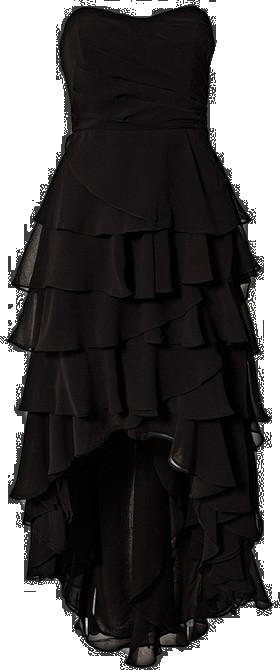 Irregular Hem Black Color Chiffon Long Tube Dress