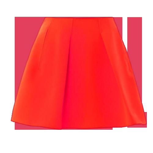 Vivid Red Pleated Short Skirt