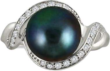 10mm Freshwater Black Pearl and White Topaz Royal Ring in .925 Sterling Silver