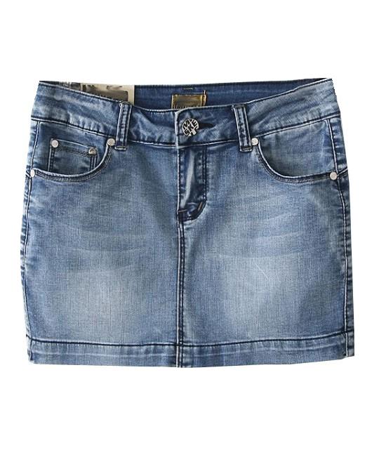 Street Style Midi Waist Denim Skirt