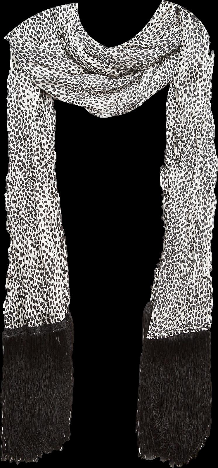 Animal print fringed scarf
