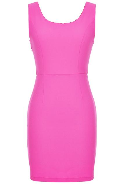 ROMWE Heart-shaped Cutout Sleeveless Rose Dress