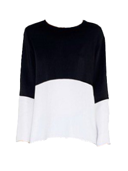 Black White Contrast Color Chiffon Blouse