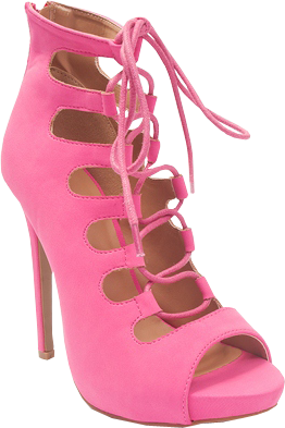 Style Stunner Peep Toe Lace Up Gladiator Booties - Pink