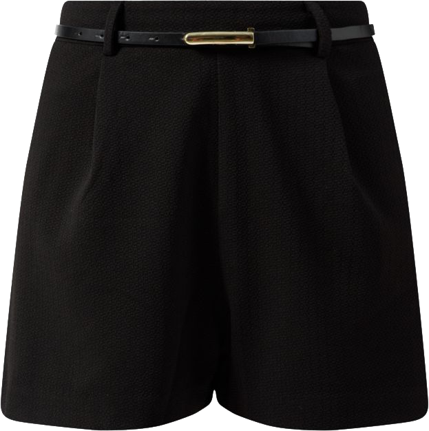 Black Belted Structured Shorts