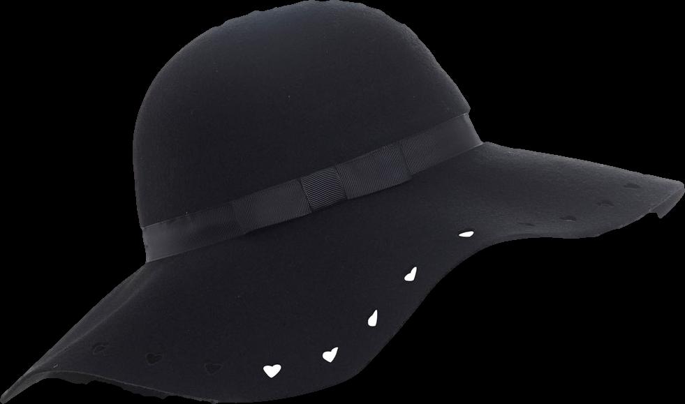 Black Cutwork Heart Floppy Hat