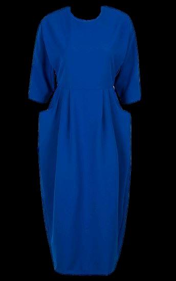 Blue Open Back 3/4 Sleeve Split Midi Dress