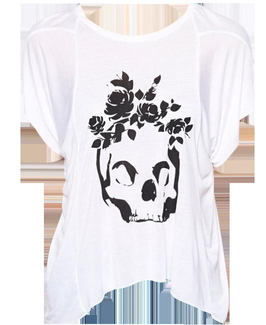 Rose Skull Print White T-shirt