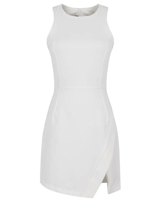 White Sexy Slit Irregular Dress