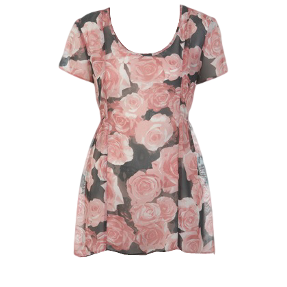 ROSE PRINTED PEPLUM TOP