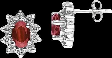 6X4mm Oval Shaped Garnet and Diamond Flower Earrings in 14k White Gold