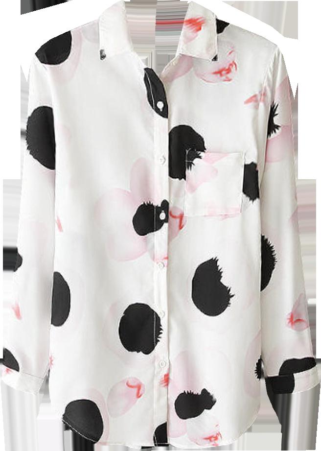 White Floral Print Long Sleeve Shirt