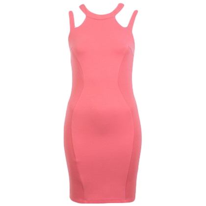 PETITES PINK RIB PANEL BODYCON