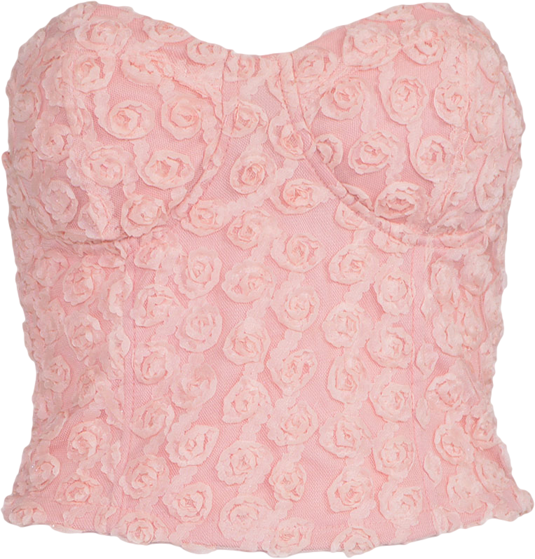 Pink Bandeau Top With Rosette