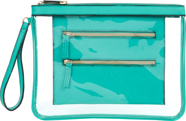 Turquoise Transparent Overlay Zip Clutch