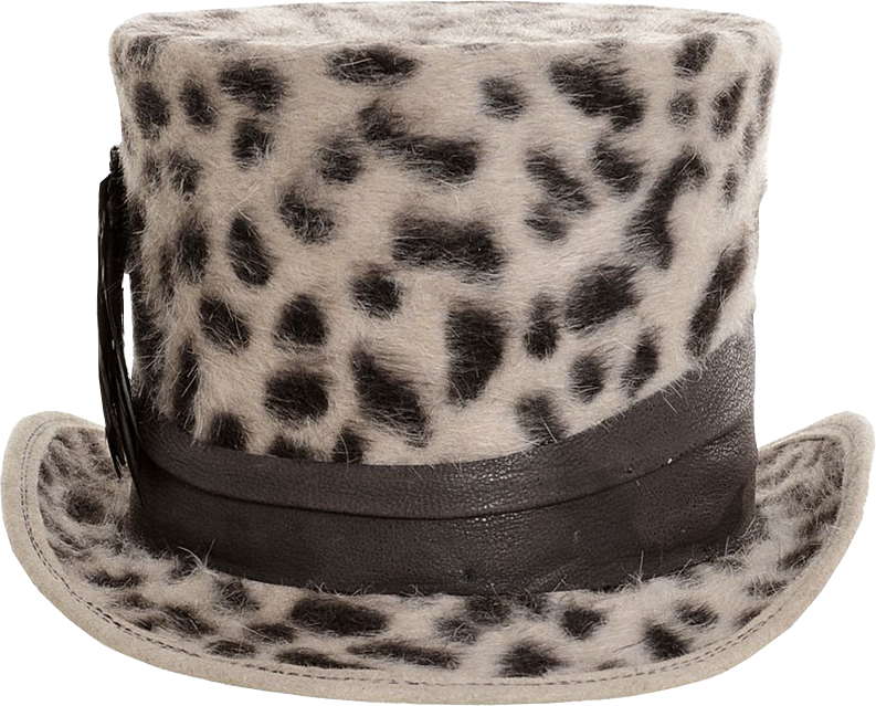 Leo Print Rabbit Fur Stovepipe Hat