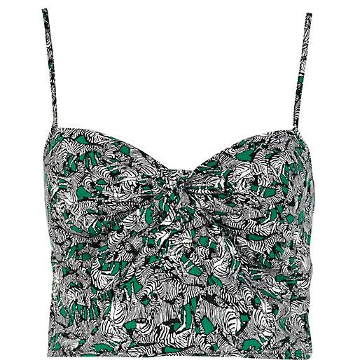 Green zebra print bow front bralet