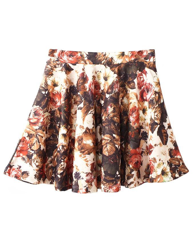 Floral Printed High Waist Wavy Edges Skirt