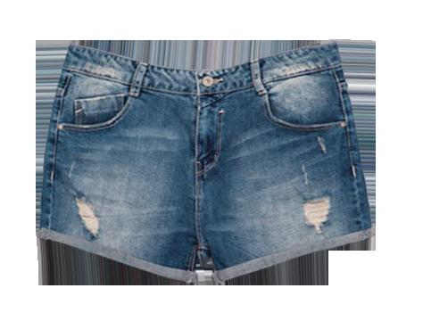 High Waist Frayed Denim Shorts With Rolled Hem